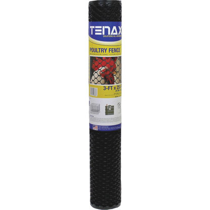 Picture of Tenax 3/4 In. x 3 Ft. H. x 25 Ft. L. Hexagonal Plastic Poultry Netting Fence, Black
