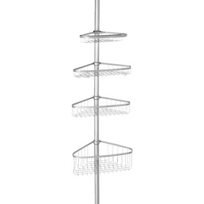 Picture of iDesign York Tension 4-Shelf Silver Shower Caddy