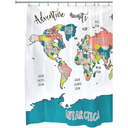 Picture of iDesign 72 In. x 72 In. PEVA Travel Map Shower Curtain