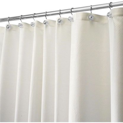 Picture of iDesign 72 In. x 72 In. Carlton Off-White Button Hole Polyester Shower Curtain