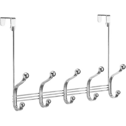 Picture of iDesign York Lyra Over-The-Door Chrome 5-Hook Rail