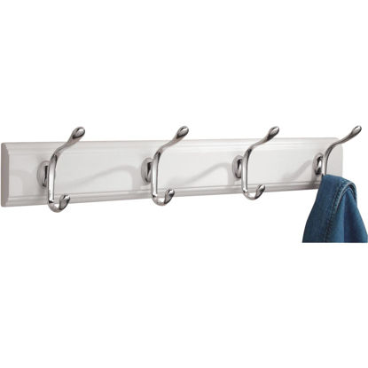 Picture of iDesign Paris White Wood 4-Hook Rack