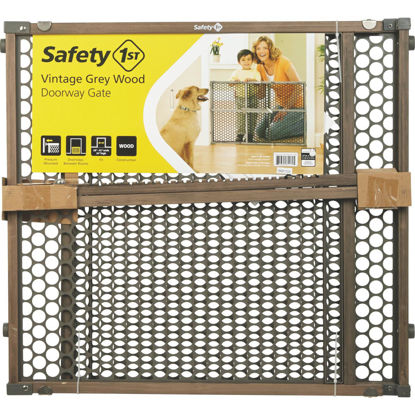 Picture of Safety 1st 24 In. H. Vintage Gray Wood Doorway Safety Gate