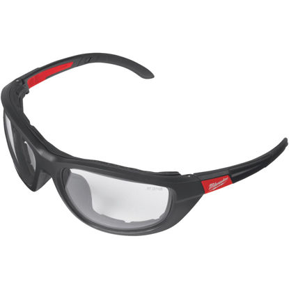Picture of Milwaukee Red & Black Frame Gasketed High Performance Safety Glasses with Clear Lenses
