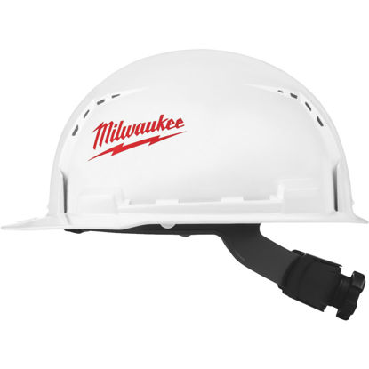 Picture of Milwaukee White & Red Front Brim Vented Ratcheting Type 1 Class C Hard Hat