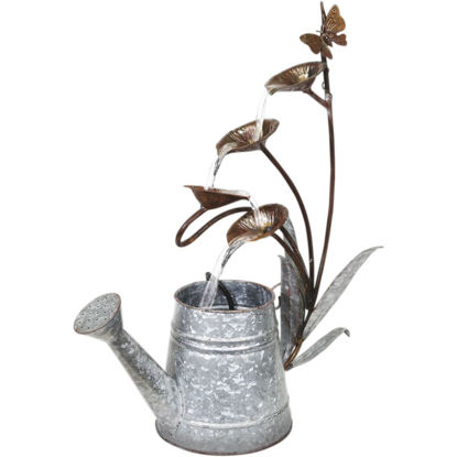 Picture of Alpine 18 In. W. x 24 In. H. x 8 In. L. Rustic Metal Leaf Pod & Watering Can Fountain