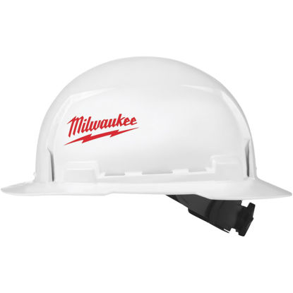 Picture of Milwaukee White & Red Full Brim Ratcheting Type 1 Class E Hard Hat