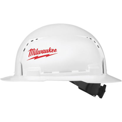 Picture of Milwaukee White & Red Full Brim Ratcheting Hard Hat